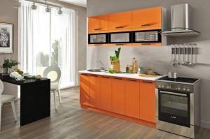Оранжевая прямая кухня Фиджи - Мебельная фабрика «ЛЕКО»
