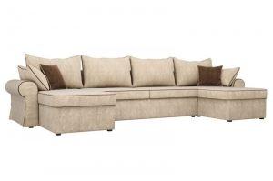 П-образный диван Элис велюр бежевый - Мебельная фабрика «Мебелико»