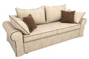 Прямой диван Элис бежевый с коричневыми подушками - Мебельная фабрика «Мебелико»