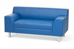 Синий прямой диван из экокожи Флагман - Мебельная фабрика «Диван Хаус»