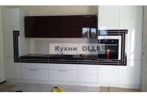 Кухня современная прямая эмаль с вставками из шпона. - Мебельная фабрика «Кухни OLLI»