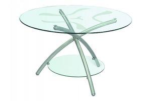 Стол журнальный ДУЭТ 3 металлик/прозрачное - Мебельная фабрика «Мебелик»