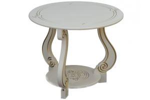 Стол журнальный Грация (М) слоновая кость/золото - Мебельная фабрика «Мебелик»