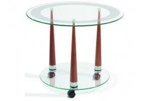 Стол журнальный Квартет 13 средне-коричневый/прозрачное - Мебельная фабрика «Мебелик»