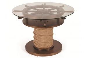 Стол журнальный Штурвал темно коричневый/прозрачное - Мебельная фабрика «Мебелик»