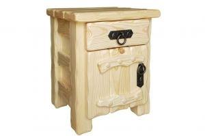 Тумбочка Аленушка 2  ящик+дверь с элементами ковки лак прозрачный - Мебельная фабрика «Кедр-М»