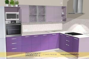 Угловая сиреневая кухня - Мебельная фабрика «Проспект мебели»