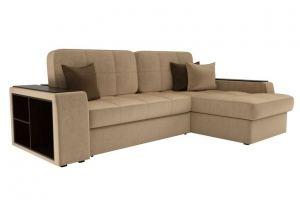 Угловой диван Брюсель микровельвет бежевый - Мебельная фабрика «Мебелико»