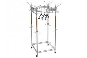 Вешалка гардеробная на колесах Галилео 216 металлик/средне-коричневый - Мебельная фабрика «Мебелик»