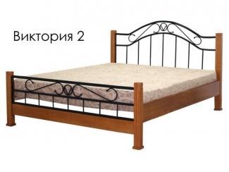 Кровать Виктория 2 из массива сосны с элементами ковки - Мебельная фабрика «Массив»
