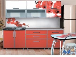Кухня прямая Орхидея красная - Мебельная фабрика «Мир Мебели»