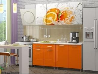 Прямая кухня Апельсин-3 с фотопечатью - Мебельная фабрика «Манго»