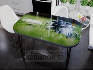 Стол со стеклом Черника - Мебельная фабрика «Вавилон58»