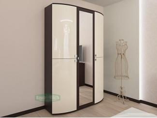 Глянцевый шкаф Волна с зеркалом  - Мебельная фабрика «Ваша мебель»