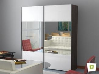 Шкаф-купе Эста с фасадом из зеркала и белого стекла  - Мебельная фабрика «Е1»