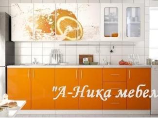 Оранжевая кухня с фотопечатью Аника 2 - Мебельная фабрика «А-Ника», г. Ульяновск