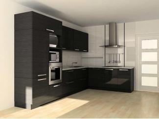 Черная угловая кухня в стиле минимализм