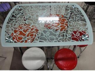 Стол стеклянный «Белая галактика» - Мебельная фабрика «Династия»