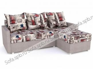 Угловой диван с подушками, велюр Лондон