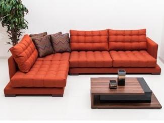 Низкий диван в оранжевом цвете Луиза 7 - Мебельная фабрика «Новая мебель»