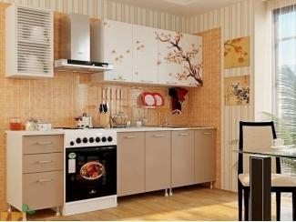 Прямая кухня Сакура с фотопечатью
