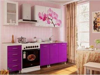 Прямая кухня Орхидея с фотопечатью