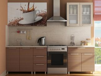 Кухня прямая Радуга с фотопечатью Кофе - Мебельная фабрика «МИГ»