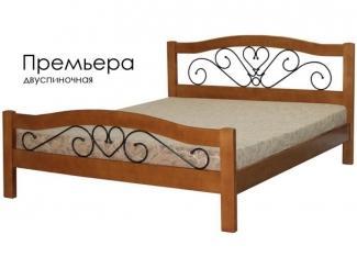 Кровать Премьера из массива сосны с элементами ковки - Мебельная фабрика «Массив»