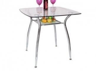Cтеклянный стол с полкой под столешницей  - Мебельная фабрика «Фран»
