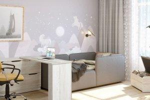 Детская Бриз с мягкой кроватью - Мебельная фабрика «Сканд-Мебель»