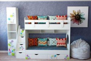 Детская двухъярусная кровать Цветы - Мебельная фабрика «Династия»