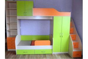 Детская двухъярусная кровать со шкафами - Мебельная фабрика «Santana»