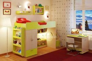 Детская кровать чердак Легенда 3.6 с полками - Мебельная фабрика «Легенда»