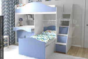 Детская кровать для двух детей Антошка - Мебельная фабрика «Ольга»