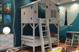 Детская кровать-домик двухъярусная - Мебельная фабрика «PandaDream»