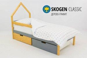 Детская кровать-домик мини Skogen дерево-графит - Мебельная фабрика «Бельмарко»