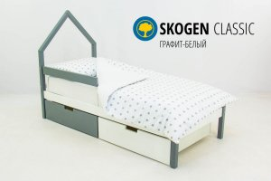 Детская кровать-домик мини Skogen графит-белый - Мебельная фабрика «Бельмарко»