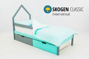 Детская кровать-домик мини Skogen графит-мятный - Мебельная фабрика «Бельмарко»