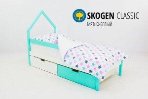 Детская кровать-домик мини Skogen мятно-белый - Мебельная фабрика «Бельмарко»