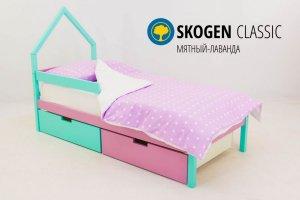 Детская кровать-домик мини Skogen мятный-лаванда - Мебельная фабрика «Бельмарко»