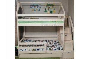 Детская кровать-домик с лестницей-комодом - Мебельная фабрика «Агат»