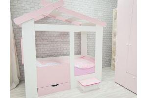 Детская кровать-домик Теремок с ящиком и лестницей - Мебельная фабрика «Лилель»