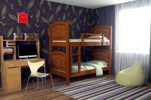 детская кровать Мишутка  двухъярусная - Мебельная фабрика «DM - DarinaMebel»