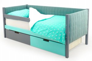 Детская кровать-тахта мягкая Svogen графит-мятный - Мебельная фабрика «Бельмарко»