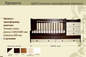 Детская ЛДСП кровать-трансформер маятник - Мебельная фабрика «AvtoBaby»