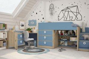 Детская Mini Капри синий+дуб серый - Мебельная фабрика «Клюква»