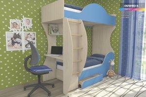 Детская двухъярусная кровать Облачко 8 - Мебельная фабрика «Мульто»