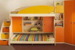 Детская стенка с двухъярусной кроватью - Мебельная фабрика «Santana»