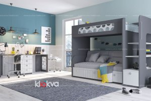 Детская VELVET с двухъярусной кроватью - Мебельная фабрика «Клюква»