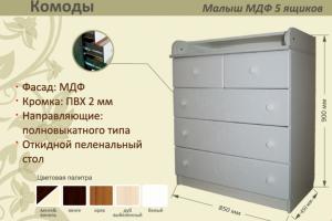 Детский комод Малыш МДФ 5 ящиков - Мебельная фабрика «AvtoBaby»